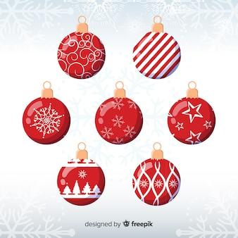 Conjunto de bolas de natal tradicional