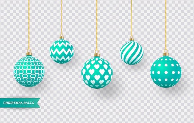 Conjunto de bolas de natal verdes realistas com vários padrões.