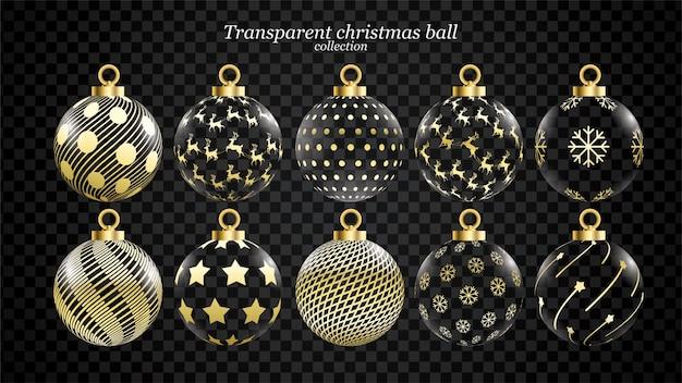 Conjunto de bolas de natal vetor ouro e transparente