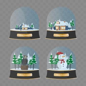Conjunto de bolas de neve de inverno com altos detalhes. conjunto de coleção de bola de vidro de feliz natal.