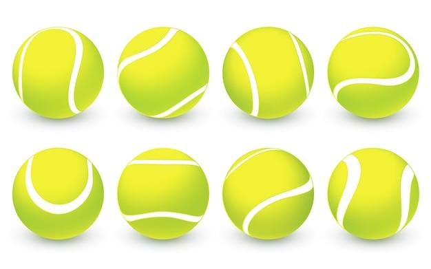 Conjunto de bolas de tênis realistas de vetor símbolo de competição esportivabolas de tênis 3d verdes com textura
