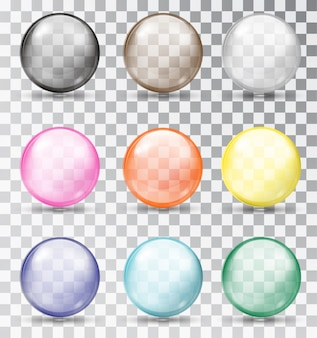 Conjunto de bolas de vidro multicolorido