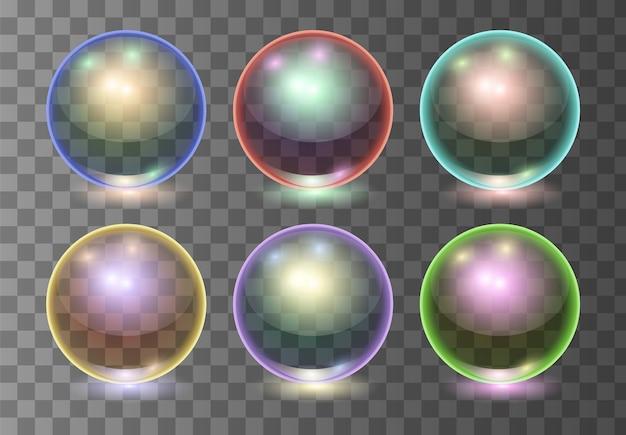 Conjunto de bolas de vidro transparente multicolor realista de vetor, esferas de brilho ou bolhas de sopa. ilustração 3d.