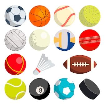 Conjunto de bolas esportivas: futebol, rugby, beisebol, basquete, tênis, puck, voleibol