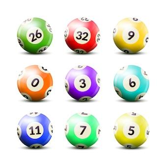 Conjunto de bolas numeradas de loteria