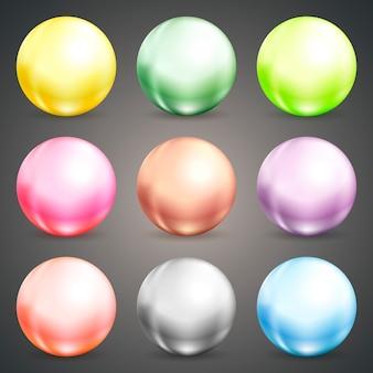 Conjunto de bolas ou bolas coloridas de esferas vetoriais redondas em tons pastel