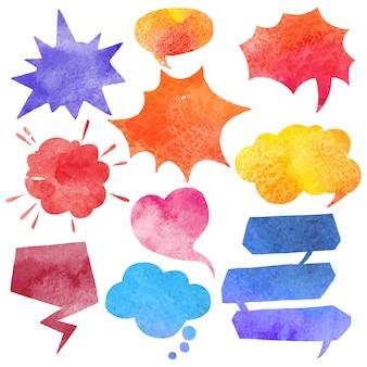 Conjunto de bolha aquarela quadrinhos