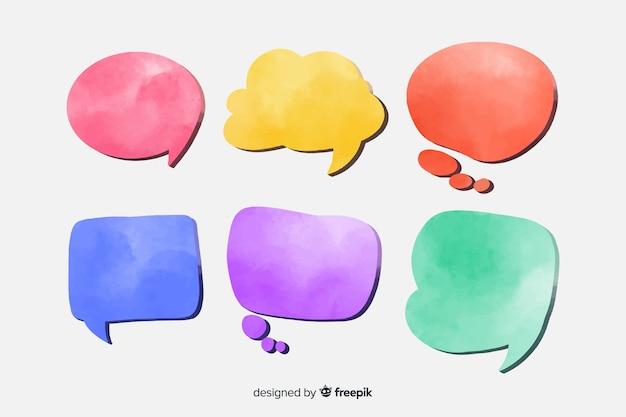 Conjunto de bolha de discurso em aquarela