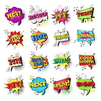 Conjunto de bolha de discurso em quadrinhos conjunto de ícones de texto de expressão em som estilo pop art