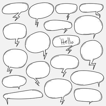 Conjunto de bolha do discurso de mão desenhada