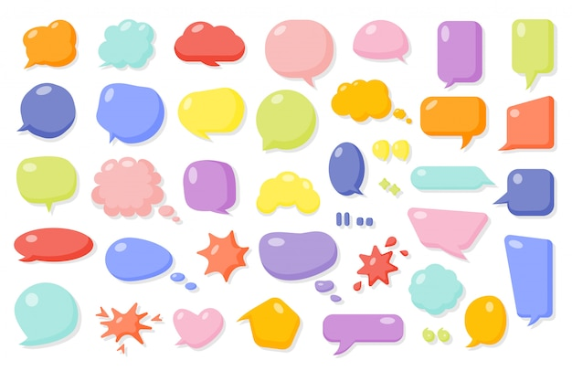 Conjunto de bolha do discurso em quadrinhos de desenhos animados. balões de formas diferentes de caixa de texto vazio. modelo de mensagem de quadrinhos