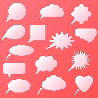 Conjunto de bolha do discurso isolado em rosa