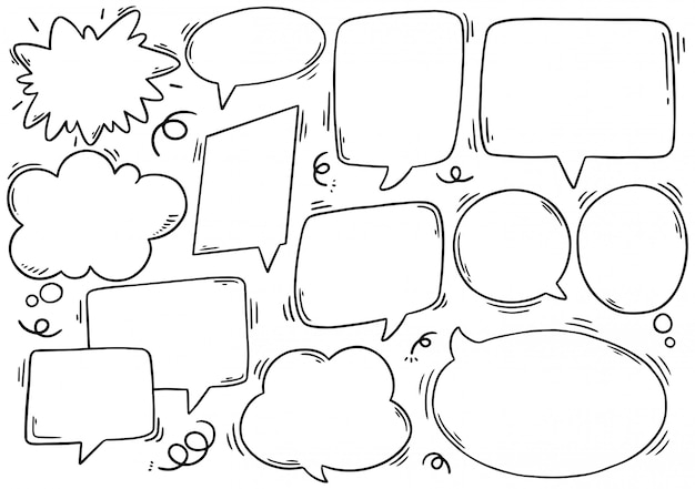 Conjunto de bolha do discurso mão desenhada no estilo doodle