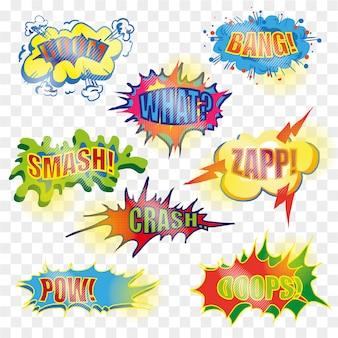 Conjunto de bolha explosiva em quadrinhos pop art