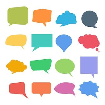 Conjunto de bolhas coloridas de citação ou discurso