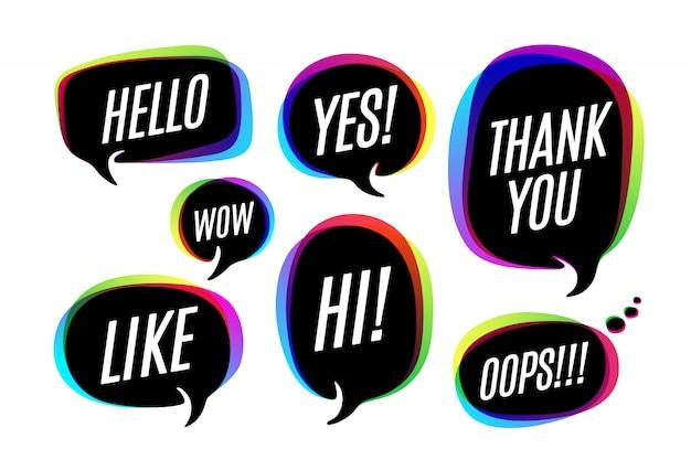 Conjunto de bolhas coloridas, ícones ou nuvem falar com texto