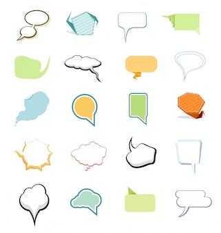 Conjunto de bolhas cômicas e elementos em estilo diferente