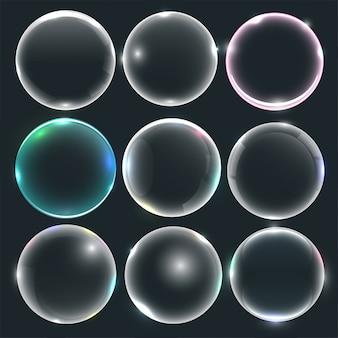 Conjunto de bolhas de água ou sabão
