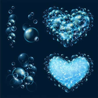 Conjunto de bolhas de água realistas.