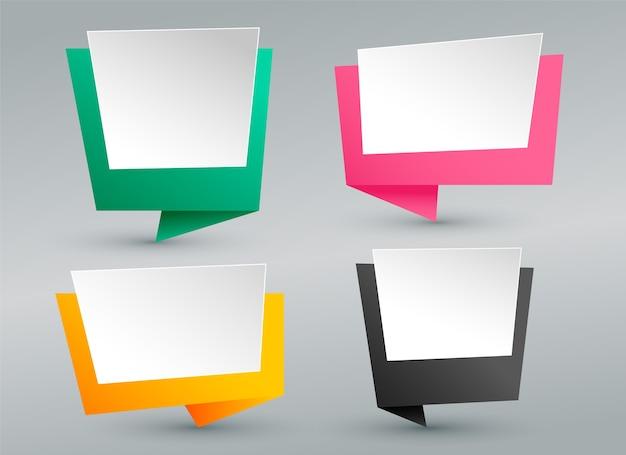 Conjunto de bolhas de bate-papo de origami vazio