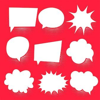 Conjunto de bolhas de bate-papo em quadrinhos