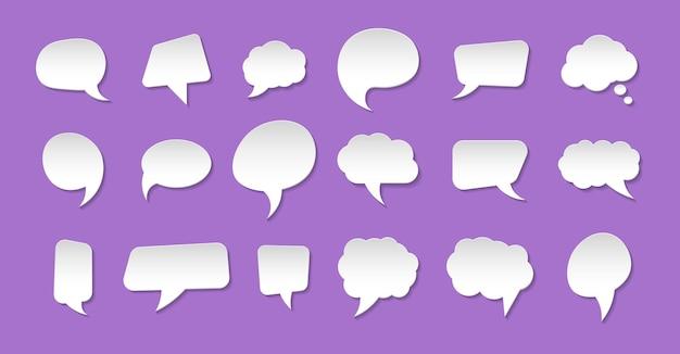 Conjunto de bolhas de comunicação em estilo de papel