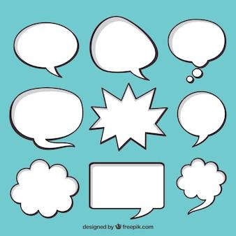 Conjunto de bolhas de discurso comic desenhadas à mão