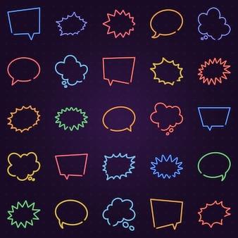 Conjunto de bolhas de discurso de brilho de néon