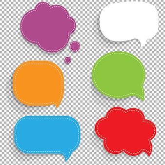 Conjunto de bolhas de discurso de papel de cor