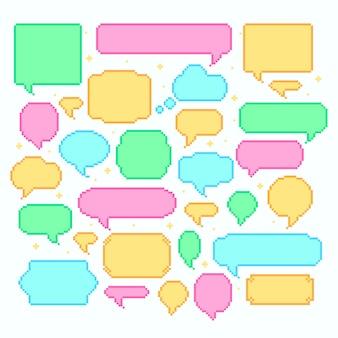Conjunto de bolhas de discurso de pixel