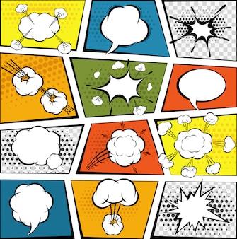Conjunto de bolhas de discurso em quadrinhos