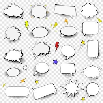 Conjunto de bolhas de discurso vazio de estilo cômico. elementos de design para cartaz, camiseta, banner. imagem