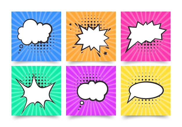 Conjunto de bolhas de discurso vazio em quadrinhos retrô.