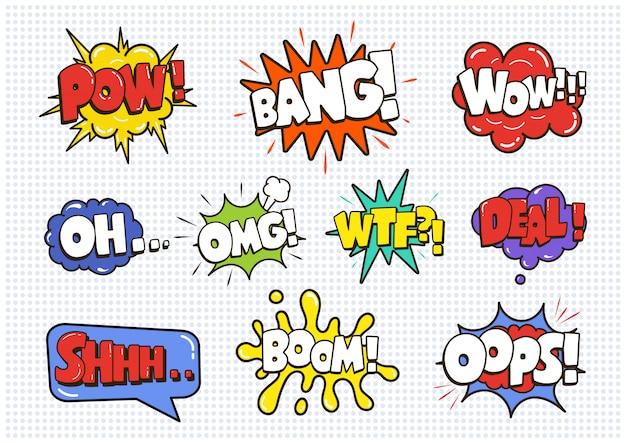 Conjunto de bolhas de efeito de discurso em quadrinhos som isolado no branco