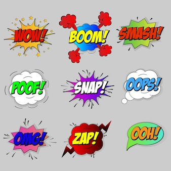 Conjunto de bolhas de efeitos sonoros em quadrinhos