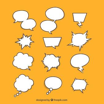 Conjunto de bolhas de fala desenhadas à mão