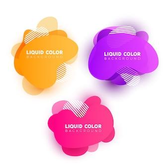 Conjunto de bolhas de gradiente de plástico líquido.
