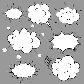 Conjunto de bolhas de mão desenhada