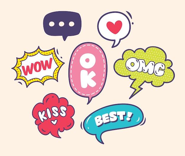 Conjunto de bolhas de palavras coloridas