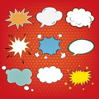 Conjunto de bolhas de quadrinhos na arte pop