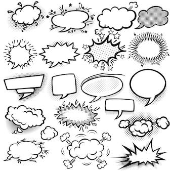 Conjunto de bolhas de quadrinhos vazias