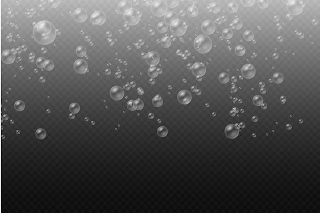 Conjunto de bolhas de sabão coloridas realistas transparentes, bolhas de água branca com reflexo