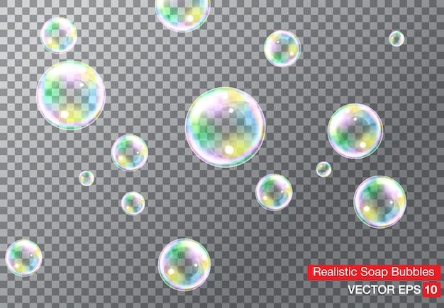 Conjunto de bolhas de sabão coloridas transparentes realistas