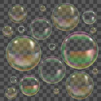 Conjunto de bolhas de sabão com reflexo