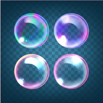 Conjunto de bolhas de sabão translúcidas multicoloridas com reflexos, destaques e gradientes em fundo azul transparente