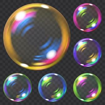 Conjunto de bolhas de sabão transparentes multicoloridas com brilhos. transparência apenas em formato vetorial. pode ser usado com qualquer fundo