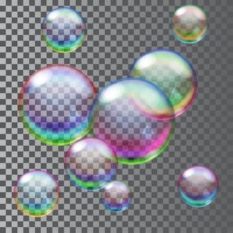 Conjunto de bolhas de sabão transparentes multicoloridas.