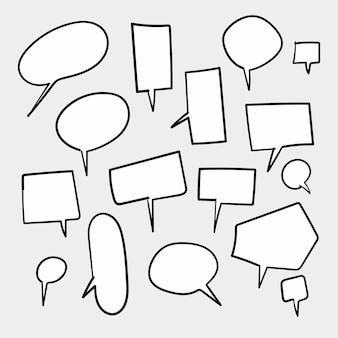 Conjunto de bolhas do discurso branco em branco