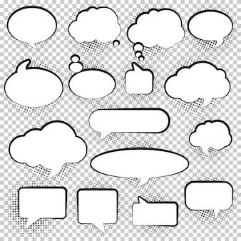 Conjunto de bolhas do discurso branco vazio em branco.