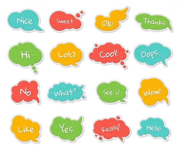 Conjunto de bolhas do discurso colorido com citações